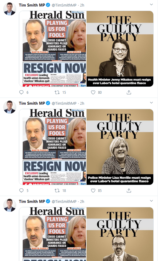 Does @TimSmithMP honestly think that the tweeting of Murdoch rag propaganda is convincing?   Again, the hotel quarantine inquiry is still ongoing but that clearly doesn't matter to #NewsCorpse or #abc730. #DimTim https://t.co/OhD3yKUEVE