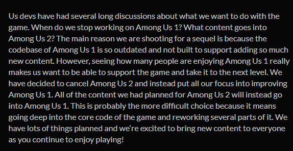 Innersloth has decided to cancel Among Us 2 and instead focus on improving Among Us 1, including all new content and a new stage. this is the right move, make Among Us 1 the best it can be https://t.co/D57d2jh0Ml https://t.co/L3xUd6DrVB