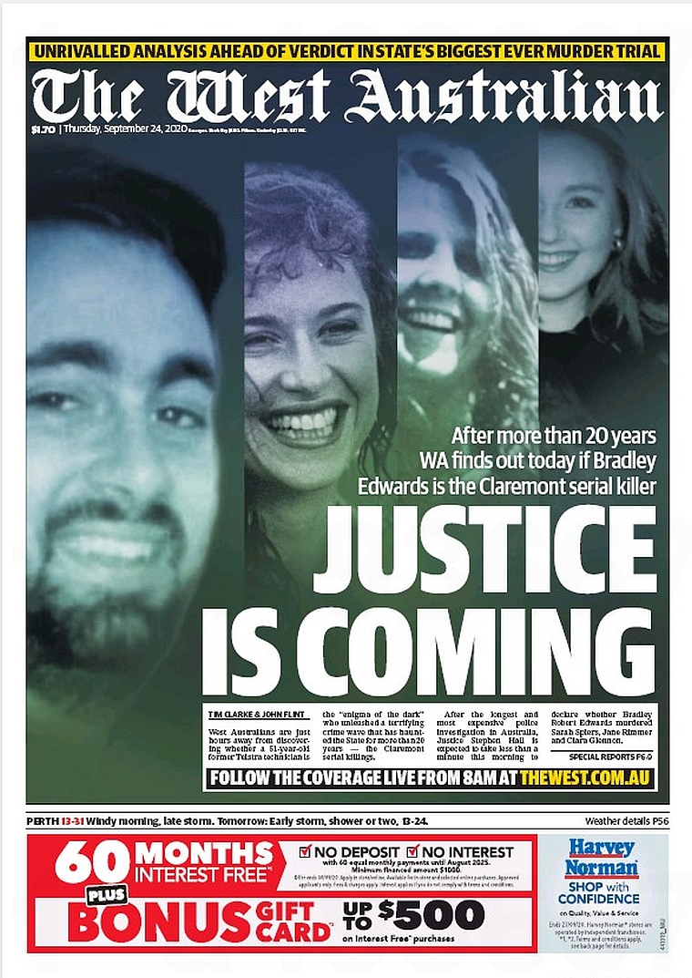 Justice Is Coming. After more than 20 years WA finds out today if Bradley Edwards is the Claremont serial killer ~ Tim Clarke & @Flinty_01  #frontpagestoday #Australia #TheWestAustralian #buyapaper 🗞 https://t.co/2VxJdwaDc7
