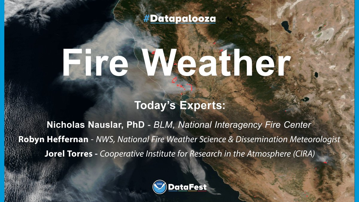 🔥 Join us in 30 minutes (noon ET) for a #TwitterChat about Fire Weather, where experts will be available to answer your questions. 🔥 Use #Datapalooza to participate. See you there!