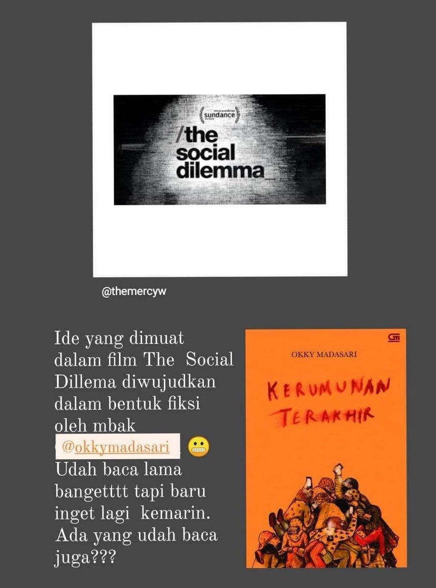 """Repost themercyw: """"Ide yang dimuat dalam The Social Dilemma diwujudkan dalam bentuk fiksi oleh @okkymadasari.""""  #KerumunanTerakhir https://t.co/q05Du8ycM8"""