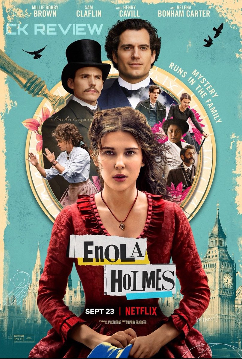 #EnolaHolmes (English|2020) - NETFLIX.  While searching for her missing mother, Enola Holmes uses her investigating skills to outsmart bro Sherlock & help a runaway lord.  MBB looks beautiful, superb perf. Promising visuals. No suspense mystery.   Fun, lighthearted DECENT film. https://t.co/1KeIqUEAdF
