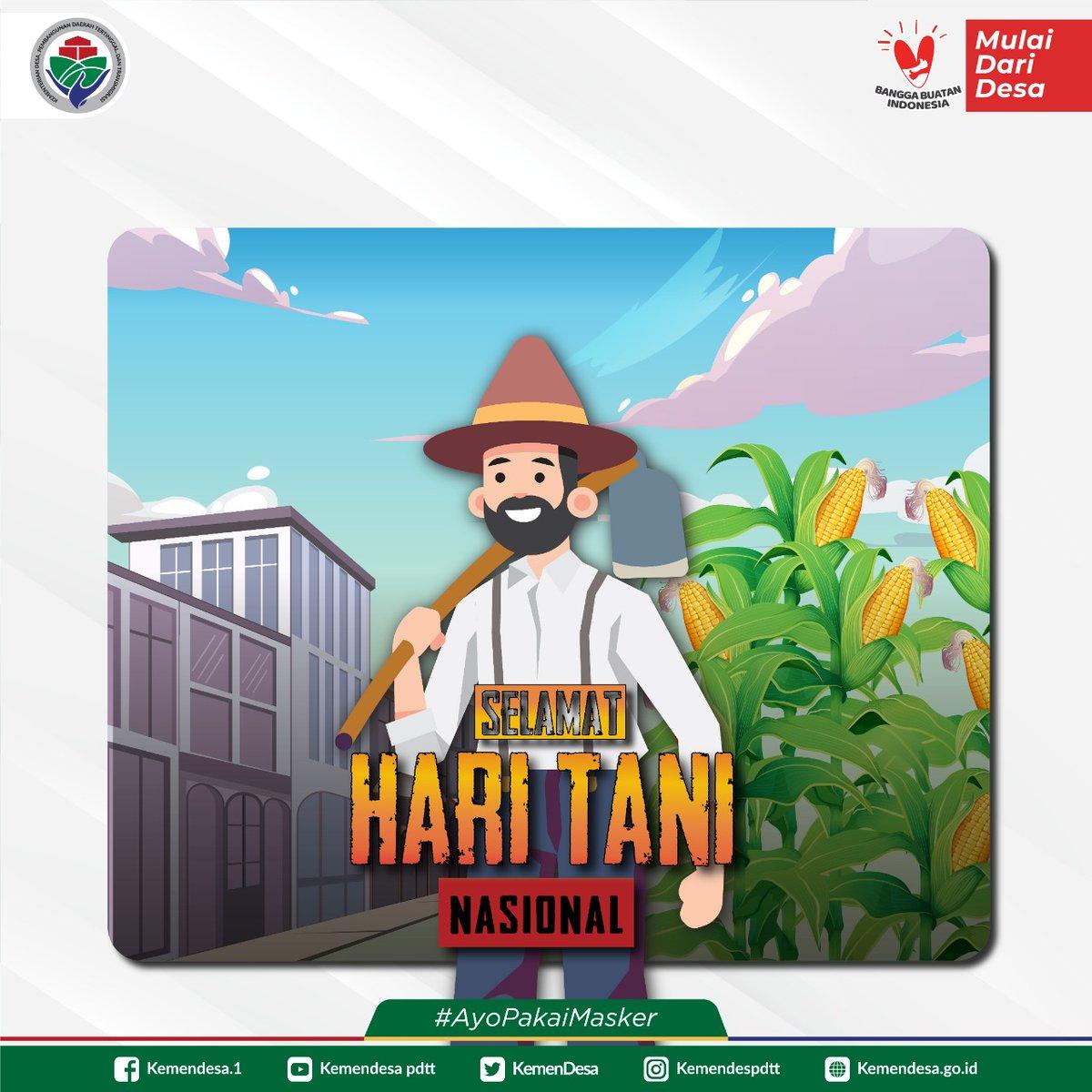 Selamat Hari Tani Nasional, para petani hebat Indonesia.  Semoga dapat mewujudkan ketahanan pangan bangsa di tengah Pandemi Covid-19.  #ExploreDesa #DesaBisa #MulaiDariDesa #DesaMajuIndonesiaMaju #KemendesPDTT https://t.co/xnZnBb76C7