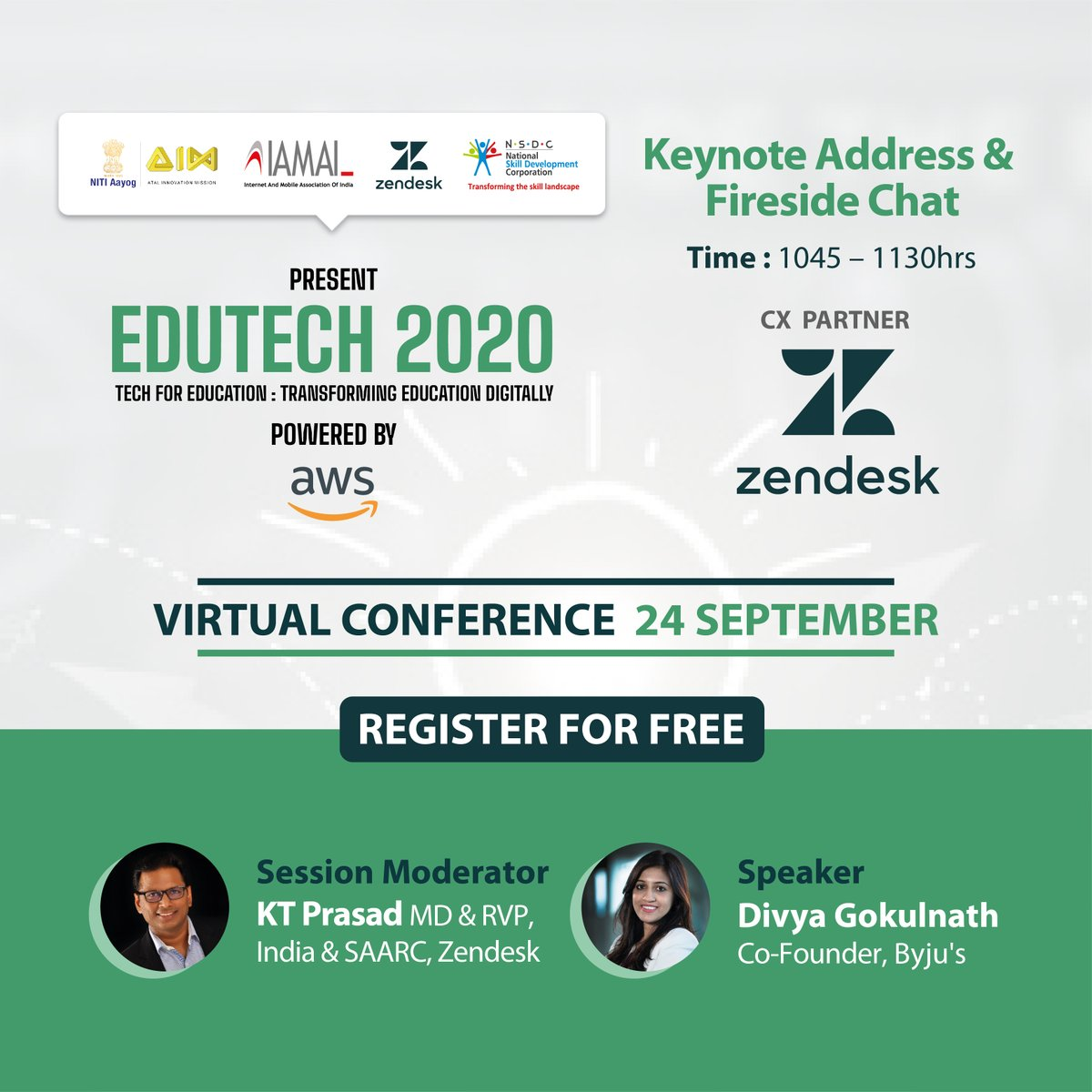 Join in live at 10:45hrs to watch a fireside chat with   KT Prasad & Divya Gokulnath  @Zendesk Watch live at https://t.co/fFJx7aaeUk  #Edutech2020 #edapp #india #highered #remotelearning #student #edutech #online #college #onlinecourses #startup #coding #teacherlife #training https://t.co/bBrxDk3BvE