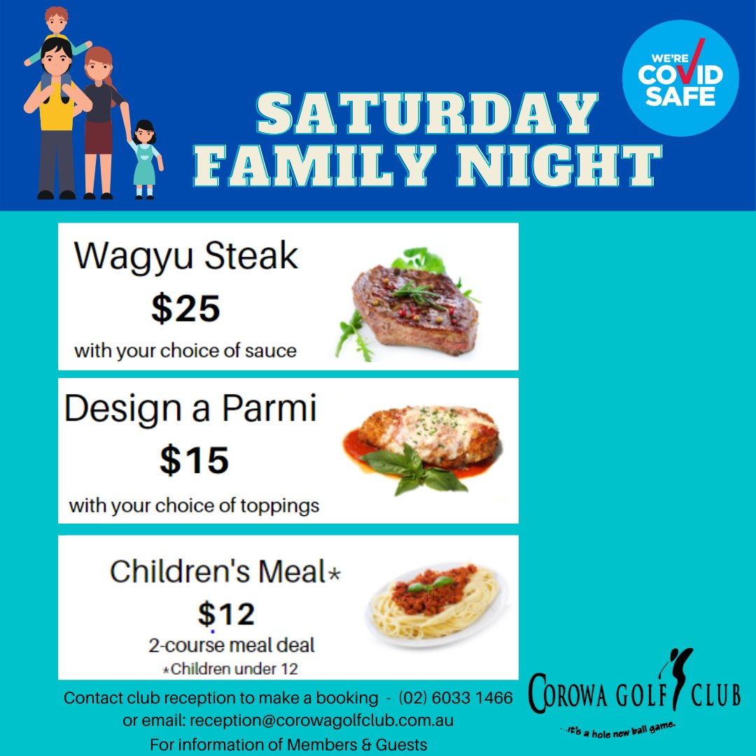 Saturday Night is Family Night at the Corowa Golf Club! #Wagyusteak #Designaparmi #kidsmeal #corowagolfclub #visitcorowaregion #visitnsw #federationcinema #golfonthemurray https://t.co/nQH5T72Ox5