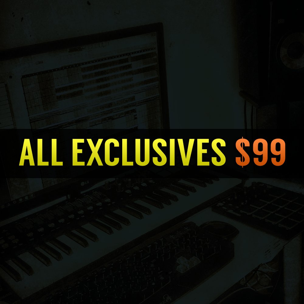 All exclusives $99 - Untagged wav file- Instant delivery to paypal email  - Trackout wav files (stems)  - Royalty-Free (Keep 100% of Your Profits.)  - Automatically deleted from the store after purchase.  Shop >>> https://t.co/ERSHO5myWQ #unsignedrappers #soundcloudrapper https://t.co/4PIIdN8E22