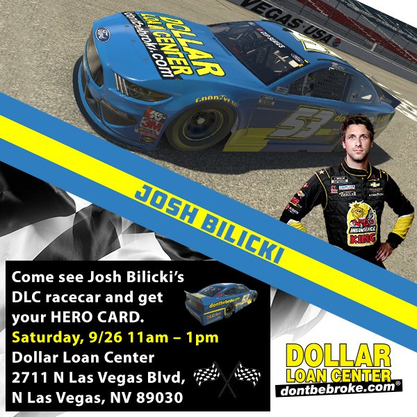 DLC is proud to sponsor and partner with Josh Bilicki for this weekend's NASCAR race at Las Vegas Speedway!    See the DLC racecar this Sat. 9/26 11am-1pm Dollar Loan Center at 2711 N Las Vegas Blvd, N Las Vegas, NV 89030.   Josh Bilicki hero cards will be available! https://t.co/qoY5bbLaDI