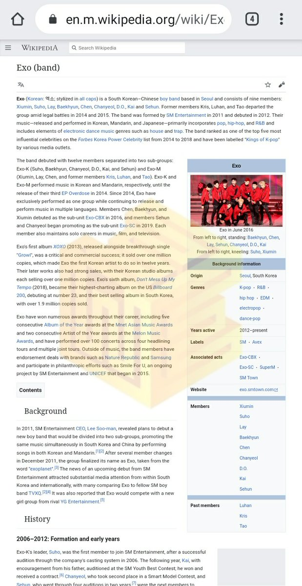 [SOCIAL] EXO-Ls, do spare some time in visiting EXO on Wikipedia at least twice a day!   Open here and don't forget to set into desktop version 👇 🔗https://t.co/9mo5Zs1o6T  #엑소 #EXO @weareoneEXO https://t.co/y04VidOrOD