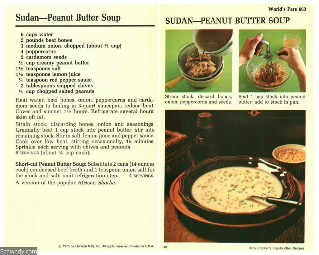 Sudan — Peanut Butter Soup #recipecard #foodstagram #foodblogger #foodpics #foodie #cooking #foods #foodblog #retro #recipes #recipe #food #eat #eating #foodies #hungry #foodlovers https://t.co/Eg0lUYge57 https://t.co/E6Lq7ZeO0R