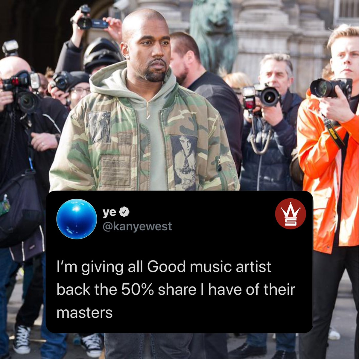 """#KanyeWest is giving back artists who signed with """"GOOD"""" music %50 of their shares back...thoughts?! 👀💯@kanyewest https://t.co/r4A42Yf4Mb"""