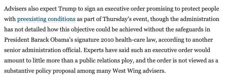 On Thursday, Trump is expected to sign an executive order that promises to protect people with preexisting conditions.  The White House has not detailed how this would work without the Affordable Care Act, which Trump is suing to invalidate.  https://t.co/txvnDa1qHJ https://t.co/oZUaxPigNW