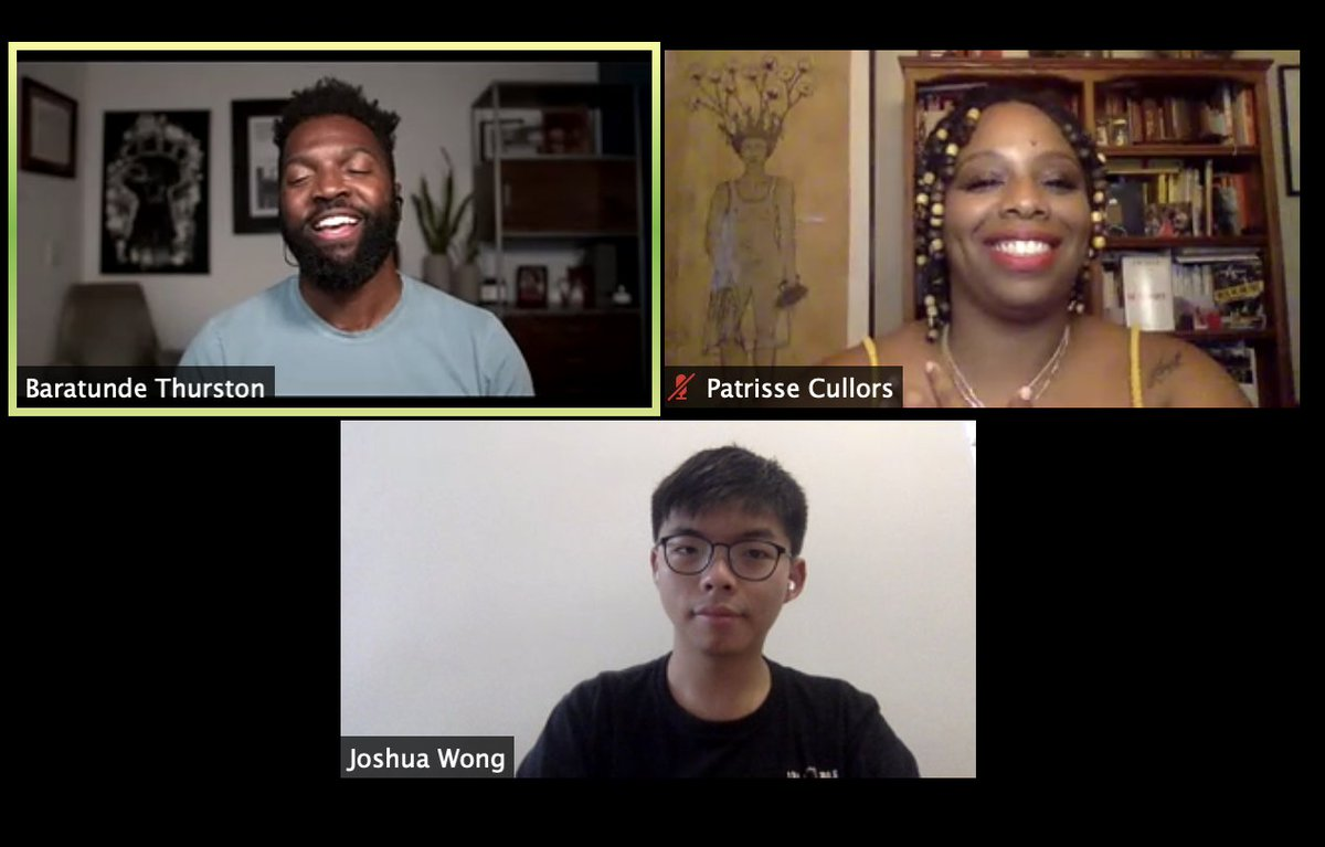 ".@joshuawongcf and @osopepatrisse are in conversation now, moderated by @baratunde. via @penamerica  Patrisse Cullors: ""it's important we don't allow US tribalism and US nationalism to dictate the conversation of who's protesting and who's fighting for their lives."" https://t.co/NW53v7dTpa"