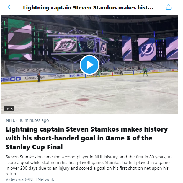 #Trending on @TwitterLive  It was a great moment. It wasn't short-handed. #Stamkos #GoBolts https://t.co/y0VjXsXCII