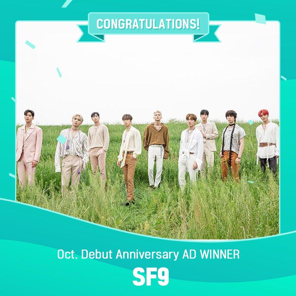 10월 데뷔기념일 투표 우승자는⁉  데뷔 4주년을 맞이한 #SF9 우승✨ SF9 데뷔기념일 축하 TV광고는 송출 전 타래로 공개예정‼  Congrats! SF9 is the winner for Debut anniversary Voting! TV ad coming soon!   ✔채널: MBC every1, MBCdrama ✔기간: 10/5~10/7 https://t.co/ZdL5qWCiiG