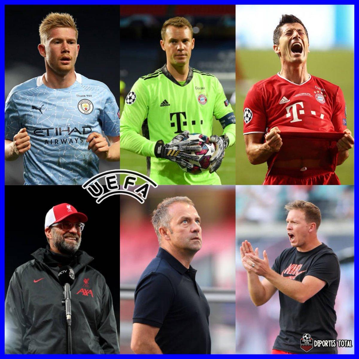 LISTOS LOS NOMINADOS🏅🙋  #UEFA 🌍 | Éstos son los nominados a jugador del año de la UEFA 2019/20:  🔸 Kevin De Bruyne 🔸 Robert Lewandowski 🔸 Manuel Neuer https://t.co/aPecPQZCoH
