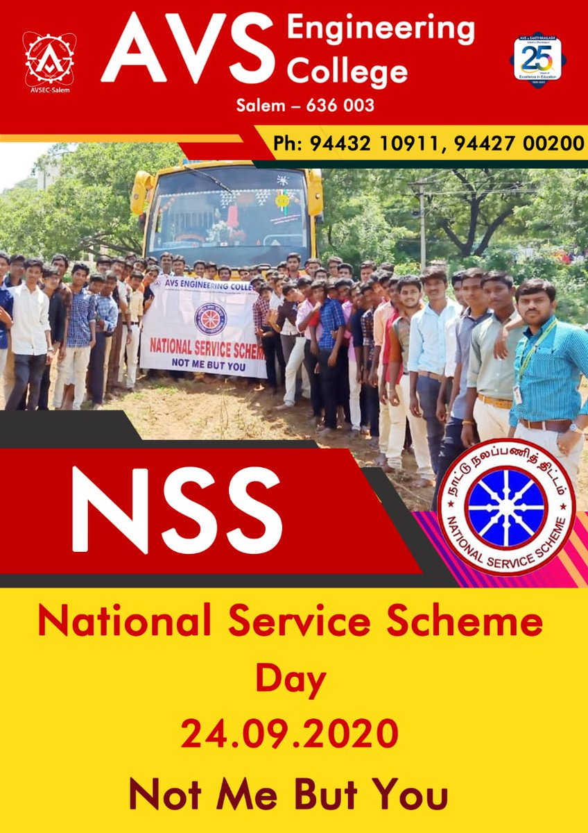 *AVS Engineering College* Creates Responsible Engineers  National Service Scheme Day 24.09.2020 *NoT ME BUT YoU*   #Topengineeringcollege  #Top99thcollege  #Bestcollege  #Strongplacement #highestplacementrecord #avsec  #counsellingcode2636  #Studyengineering #studyatavsec  #salem https://t.co/t8Dodh9Rwn