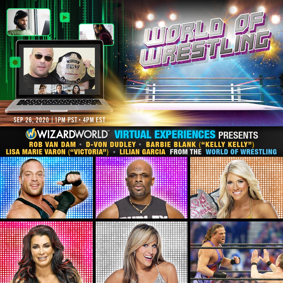 Wizard World Virtual Experiences is bringing the WORLD OF WRESTLING to the virtual screen on Saturday, September 26, 2020! Starts at 1:00 pm #rvd #prowrestling #wizardworld #convention https://t.co/hOrYfn3G6g