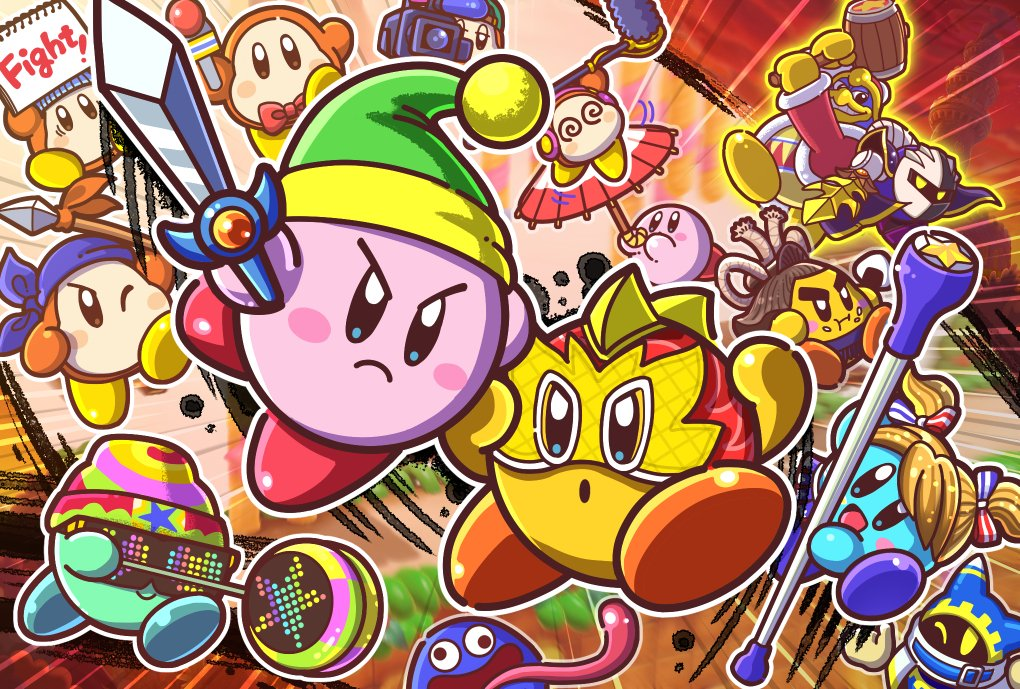 """星のカービィ on Twitter: """"Nintendo Switch用ソフト『カービィファイターズ2』が本日配信! 新たなコピー能力レスラーやカービィさんの仲間達も登場!  大王さまとメタナイトさんのタッグに挑むストーリーモードも! お友達やご家族とはもちろん、オンラインで世界中の ..."""