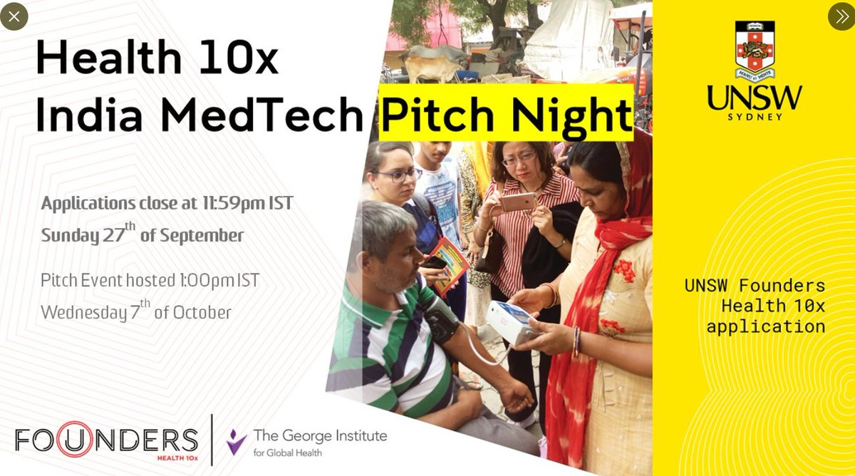 Are you an #Indian #health or #medtech startup looking to collaborate in #Australia?   @UNSWFounders& @georgeinstitute are hosting a friendly Virtual #Pitch Night competition! 📅 07/10/2020 ⏰ 1PM IST  Find out more information and apply here: https://t.co/G460MnGpBg https://t.co/mgfg67rLL6