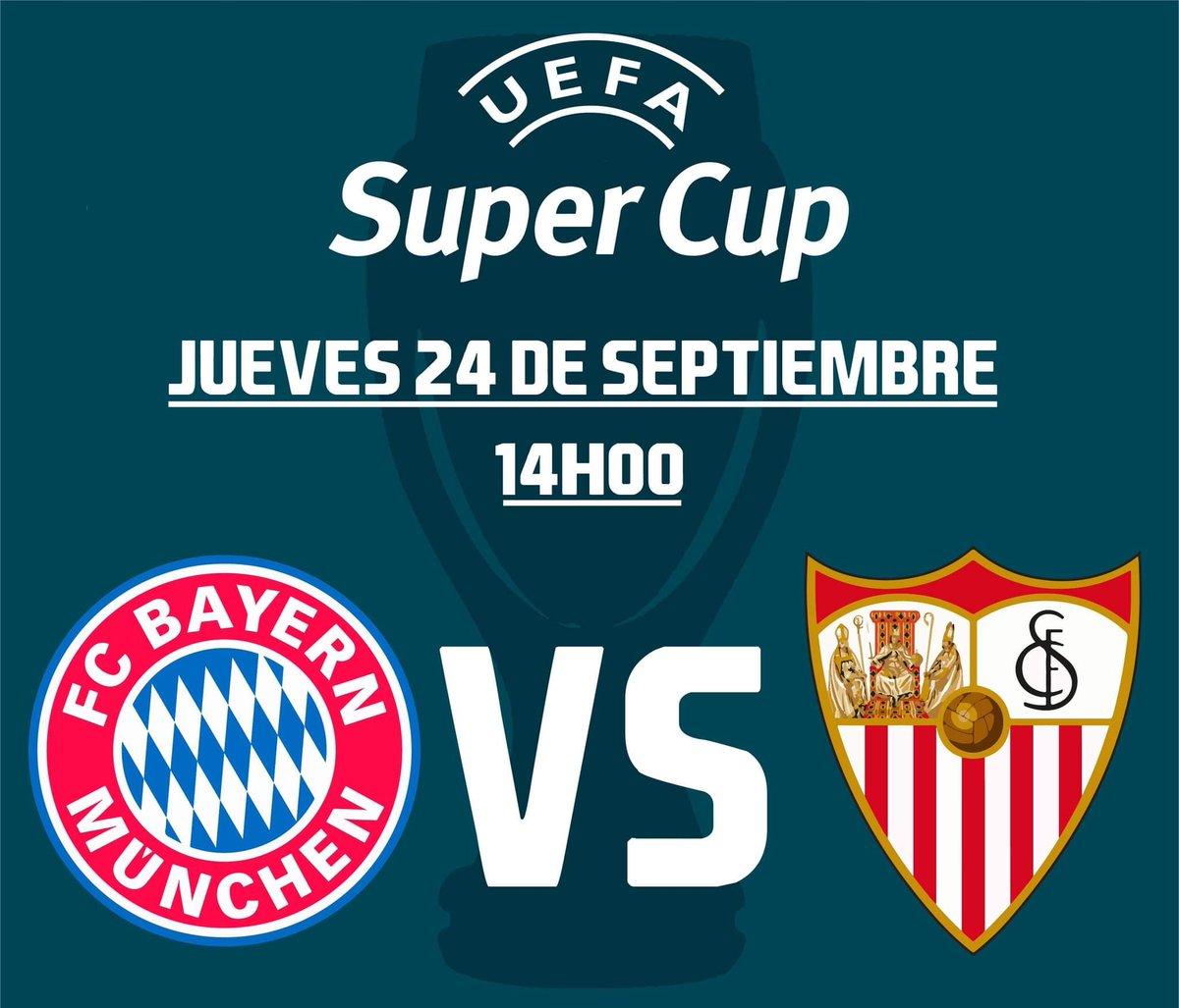 Este jueves se juega la Súper Copa de la #UEFA entre el Bayern Múnich y el Sevilla a las 14:00. El cuadro alemán va por su segunda Súper Copa al igual que el español, pues ambos solo pudieron ganarlo en una ocasión. #Sevilla #BayernMúnich https://t.co/KgFABjtjFP