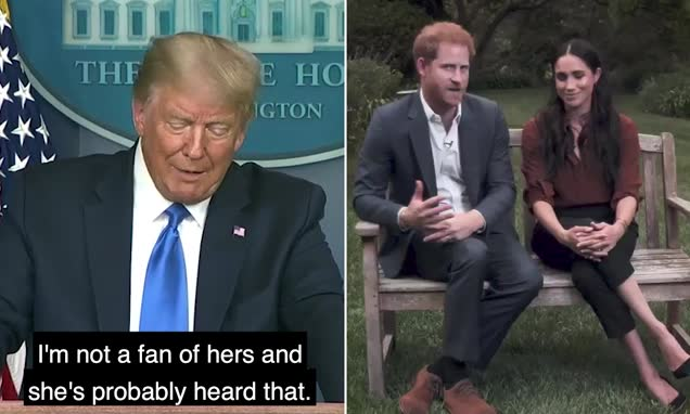 Trump says he is 'not a fan of' Meghan Markle and wishes Prince Harry 'luck' because 'he's gonna need it' after the pair 'told Americans to vote president out'  https://t.co/f2xVDSEVOw via @MailOnline https://t.co/zvYBAeU0SD