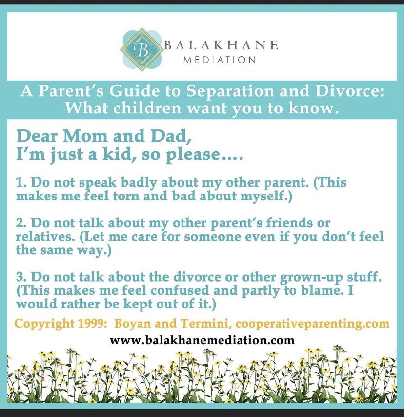 Coparenting during separation can be complicated & stressful. Hurt, anger & other emotions can still be prevalent. These suggestions by child rearing  experts are critical to the healthy development of your children.#coparenting #children #healthydivorce #mediation #divorce https://t.co/rlnYJz2Nri