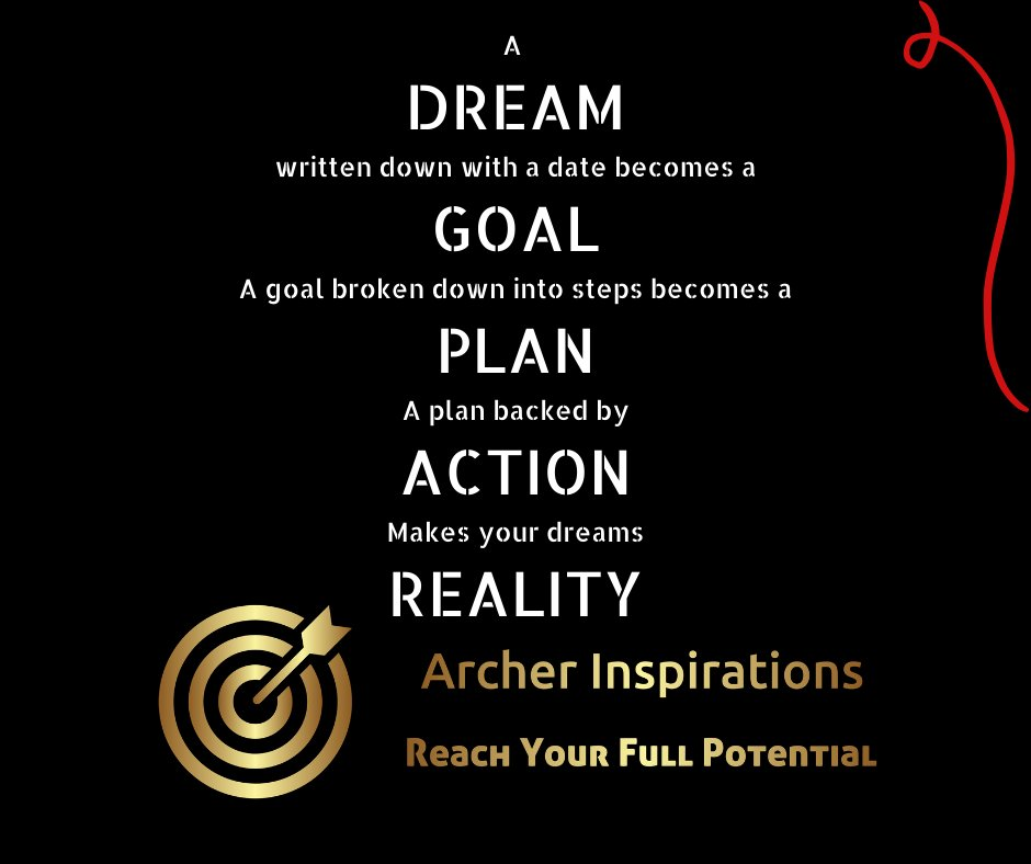 A  DREAM written down with a date becomes a GOAL A goal broken down into steps becomes a PLAN A plan backed by ACTION Makes your dreams REALITY   What are you doing about converting your Dreams into Reality Speak to #archerinspirations today #entrepreneurship #Dreams #Goals #plan https://t.co/5AYqJcSl9E
