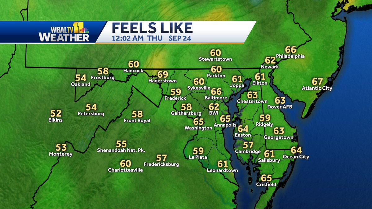 Here's a look at how current temperatures feel when factoring in wind and humidity. #mdwx https://t.co/VukQAgeITm