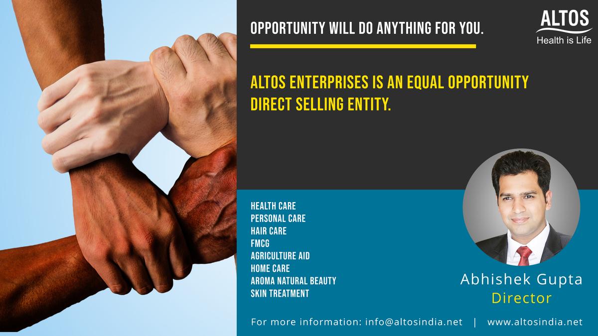 OPPORTUNITY WILL DO ANYTHING FOR YOU. Altos Enterprises is an equal opportunity for Direct selling entity. #abhishekgupta  #altosindia #altosabhishek #abhisheksuccess #altos #success #motivation #inspiration #entrepreneur #business #leader #leadership #influencer #life #goals https://t.co/r6vrqxMRW1