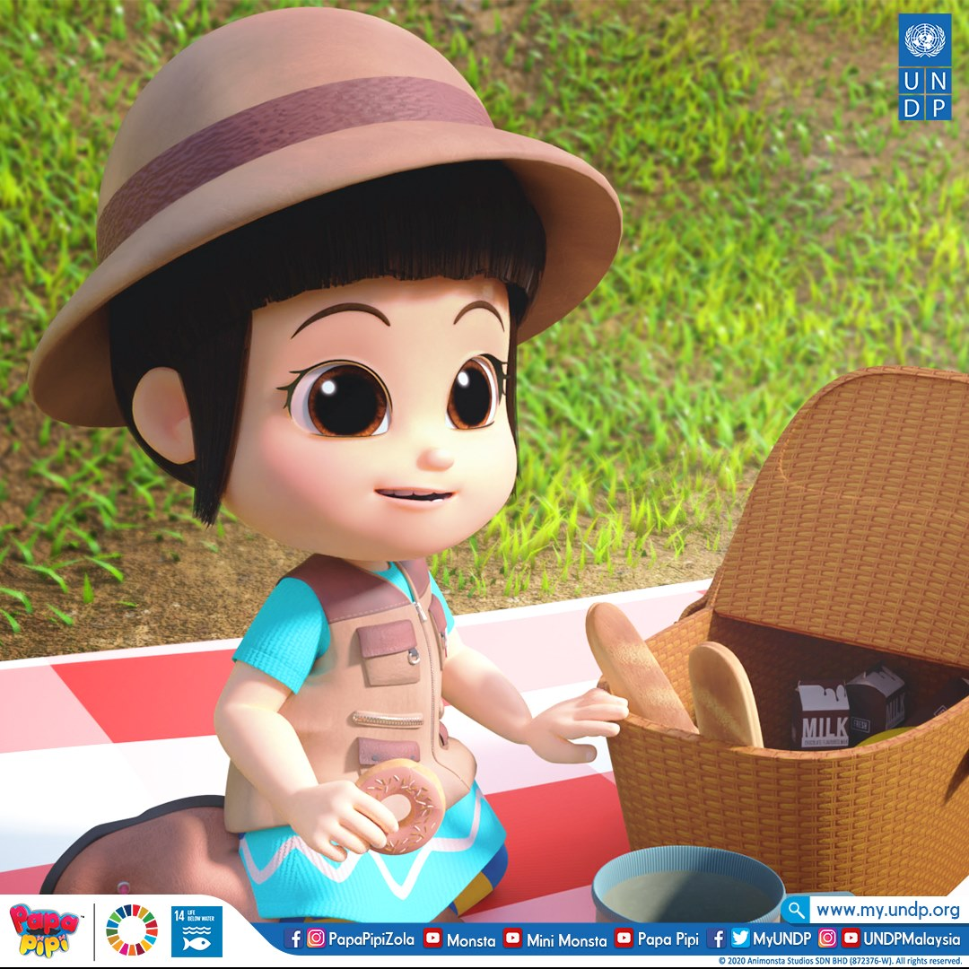 Pipi sedang berkelah ni! 🍩🍶🥖 Mana Papa ya? - Pipi is on a picnic! But where's Mr. Papa?   Akan Datang!✨ @MyUNDP   #PapaPipi #Monsta  #UNDP #SungaiNadiKehidupanKita https://t.co/dHlp8YfozB