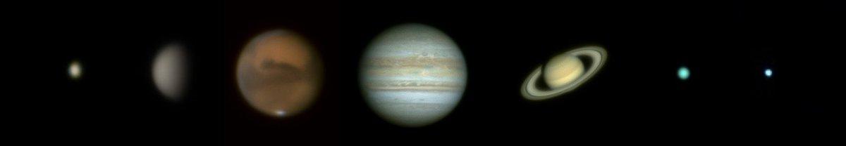 1 night, 7 planets. I captured #Mercury #Venus #Mars #Jupiter #Saturn #Uranus and #Neptune starting at 6:30 p.m on Wednesday evening with Mercury and ending off with Venus on Thursday morning 5:30. C8, 3 x barlow and #ZWOASI224MC #Astrophotography https://t.co/oKiuKBaZ7O