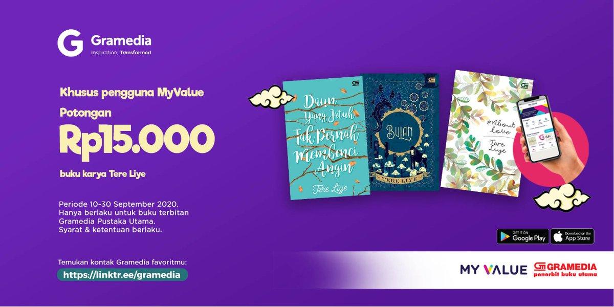 Pecinta karya Tere Liye, ada potongan Rp15.000 khusus pengguna MyValue. Potongan ini berlaku untuk buku karya Tere Liye terbitan @bukugpu, ya.  Unduh aplikasi MyValue di sini: https://t.co/d9Pu6djbME 📲 https://t.co/WyZimuR6Et