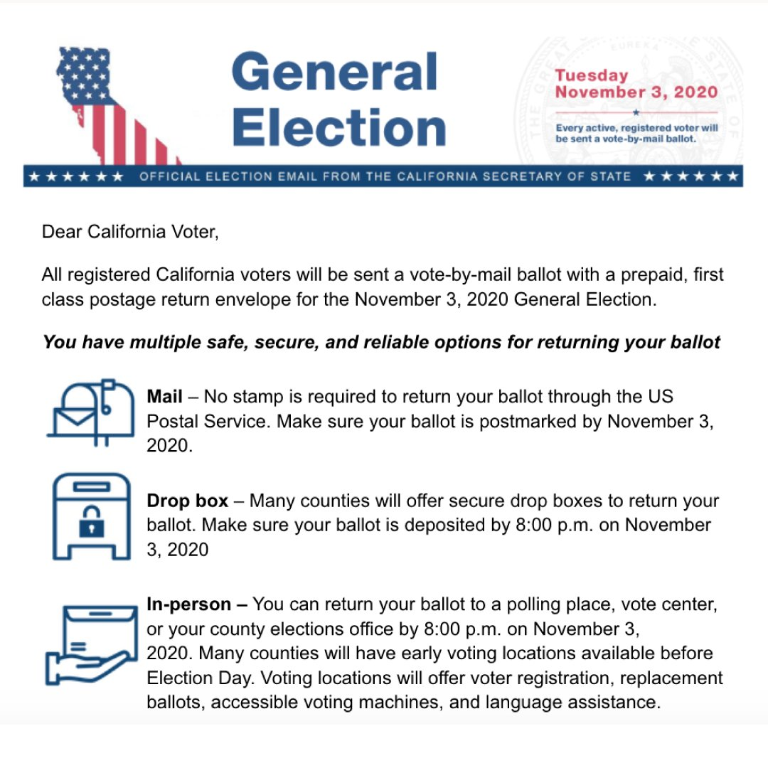 This morning, the Secretary of State's office sent an email to voters with information about the safety, security, and reliability of voting in the upcoming #November3rd General Election. Attached are sample images of the emails that were distributed. https://t.co/GFrnUMkdh2