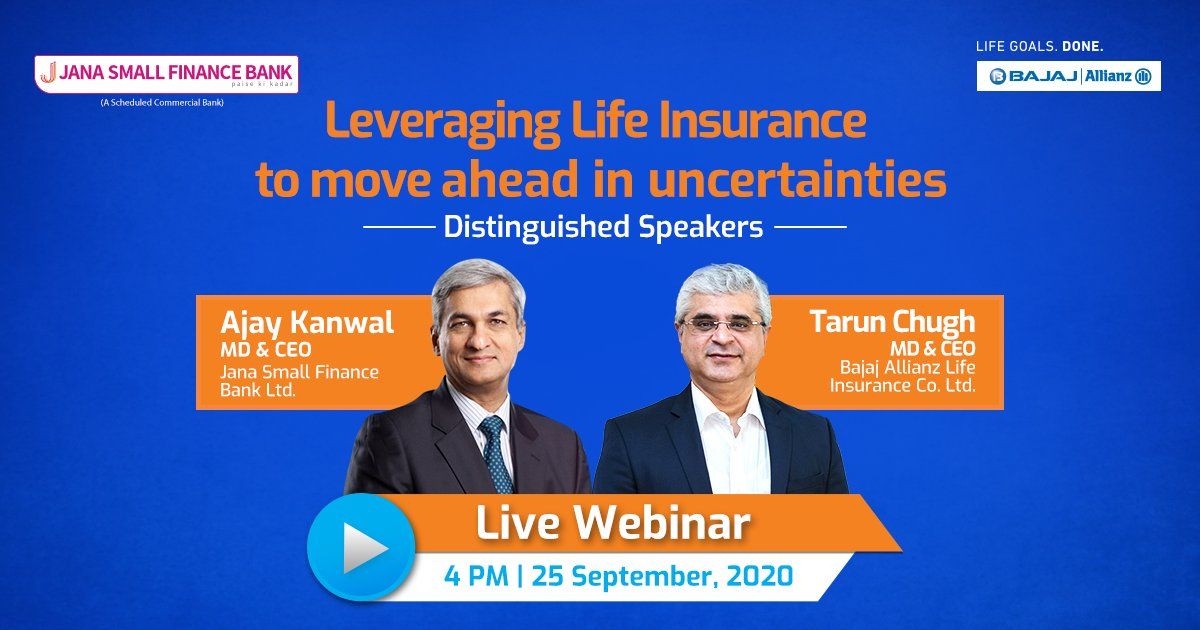 Join @TarunChugh2015, our MD & CEO & @AjayKanwal8, MD & CEO, @janabank as they discuss the role of #LifeInsurance in navigating through uncertainties & help to stay on track to get your #LifeGoalsDone.   Register now: https://t.co/CapFVzoJvd https://t.co/oB896CgKr6