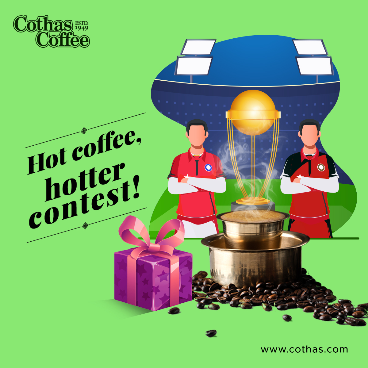 When two giants fight it out for victory, which player do you think hits the maximum fours today? Cothas gifts for the right guess!(Follow, Like & comment to Participate)  #Cothas #CothasCoffee #TheRealTasteOfCoffee #IPL2020 #KXIP #RCB #Dream11IPL #IPLContests #ESCN #KXIPvRCB https://t.co/lhrbzvIeQX