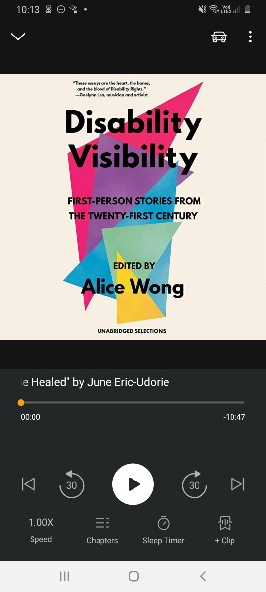 Just started listening to @SFdirewolf's #DisabilityVisibilityProject audiobook. So, so good & neccessary.👌🏾🎧  Thank you Alice for bringing these beautifully told stories to light & giving a platform for such a wonderful array of disabled pple. 🙏🏾✊🏾👏🏾 #DisabledLivesMatter https://t.co/tS5FUFtV6k