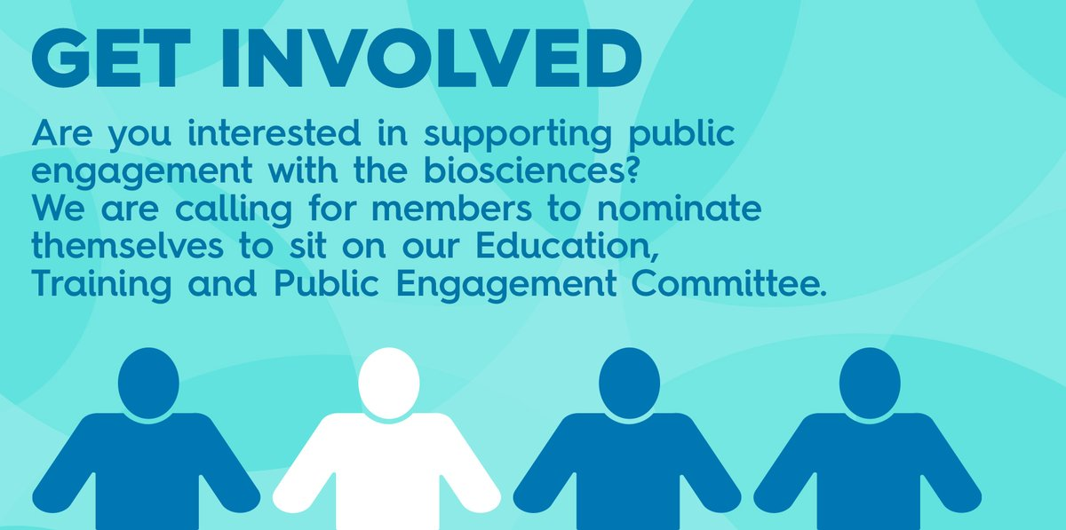 Nominations are open to join our Education, Training and Public Engagement Committee. This is a fantastic opportunity to support bioscientists and develop resources for the next generation.  Visit our website to find out more #BiosciencesForAll https://t.co/V5t1sF2J8S https://t.co/LSvZWrjHj8