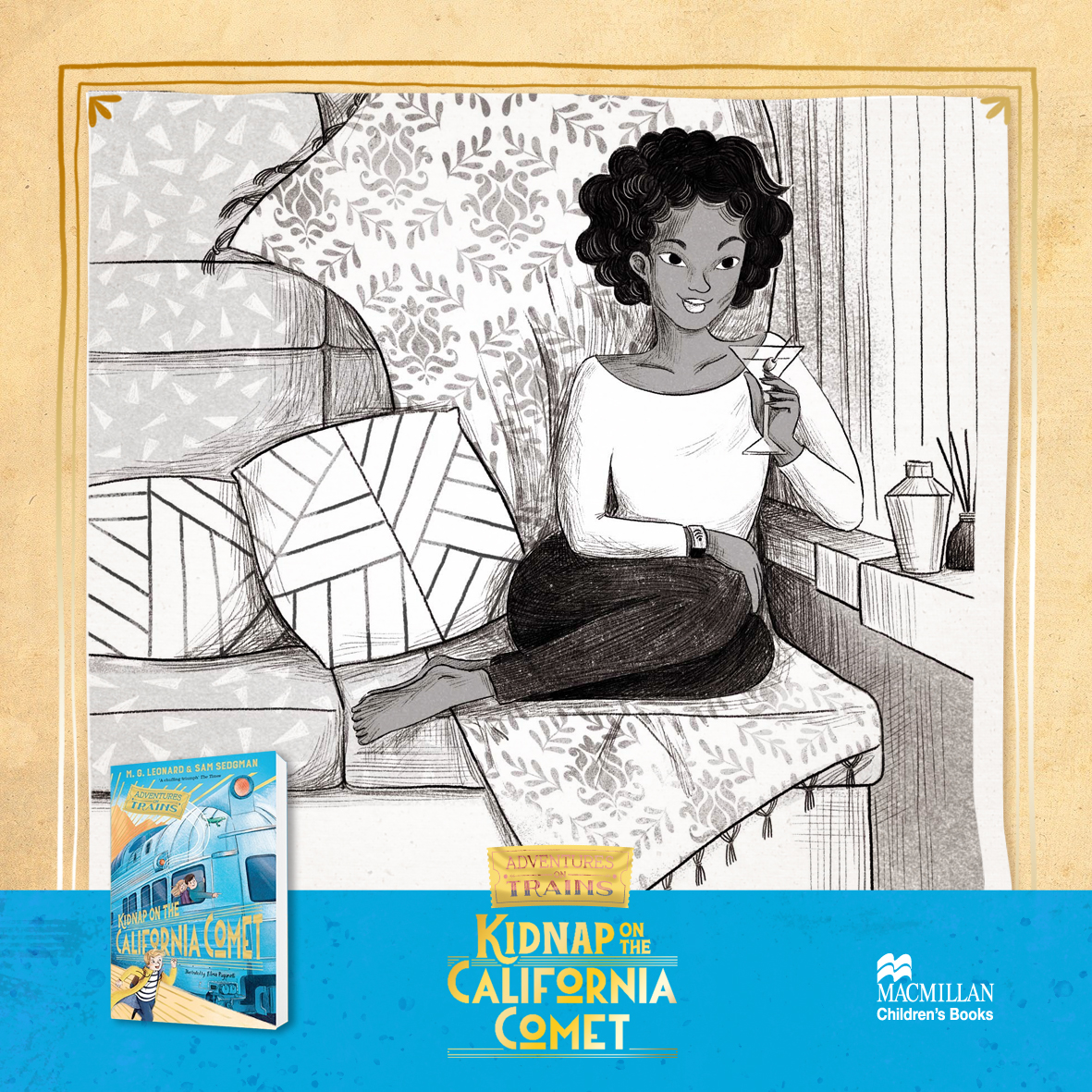 "Days pass by, and it's time to introduce another passenger of the California Comet. Please meet Zola D'Ormond! ""I like my creature comforts."" 🍸  #adventuresontrains #californiacomet #elisapaganellillustration @MGLnrd @samuelsedgman @MacmillanKidsUK https://t.co/VpzCHKFf7h"