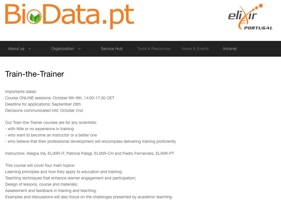 Are you a scientist and want to become a better trainer? You can still register for this train-the-trainer online course on October 6th-9th, 14:00-17:30 CET by @BioData_pt -Portuguese hub of @ELIXIREurope https://t.co/ejAt2XiaQm https://t.co/lLaiO1oOcn