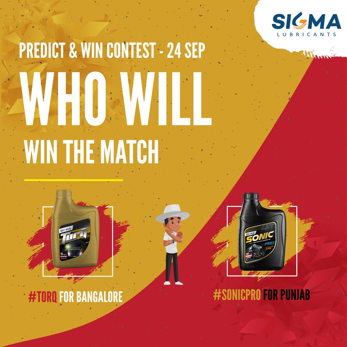 #sigmalubricants Predict and Win #Contest  Who will win the match?  #TORQ for Bangalore or #SONICPRO for Punjab  Hashtags #sigmacontest & ans  T&C: https://t.co/OFPV9LCxiP  #WeAreChallengers #RCB #PredictandWin #KXIP  #RCBvKXIP #KXIPvRCB #playbold #ContestAlert #Bangalore https://t.co/1IdiQEScqv