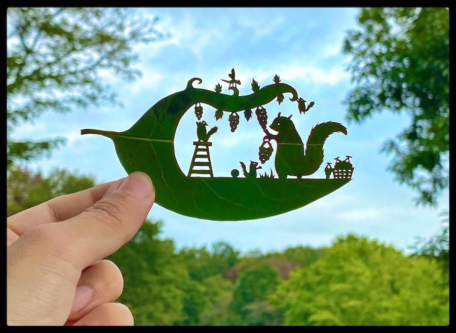 L'artiste @Teriyaki_Cheese sculpte les feuilles des arbres comme personne ! Infos & images ici : https://t.co/BYN0xoUtw0  #art #papercut #tree #leaf #kirie #japaneseart #details #carving #playful #narratives https://t.co/6vGW2BCtG1