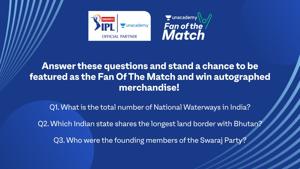 Participate in the Unacademy Fan of the Match contest & stand a chance to be featured during live matches and win autographed merchandise!  Respond with the correct answers and don't forget to use #LetsCrackIt & #UnacademyFanOfTheMatch!  T&C Apply.  #Dream11IPL #BCCI #IPL https://t.co/tKGBoUmR0P