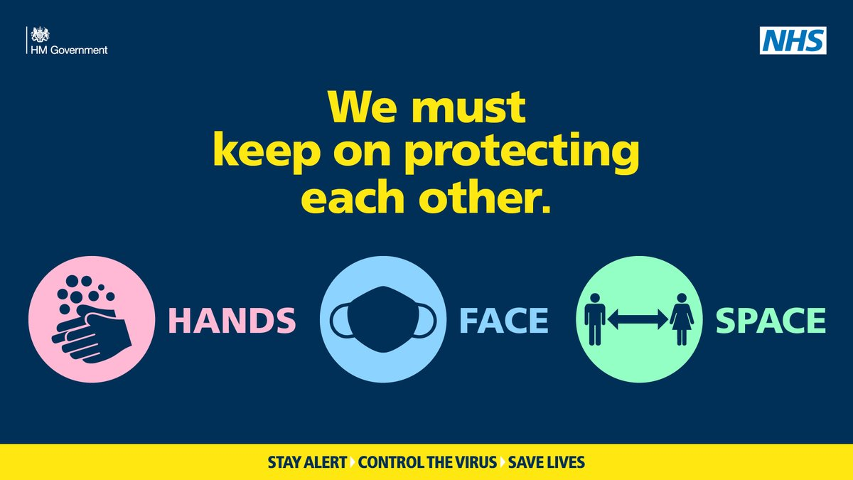 Continue to protect yourselves and everyone around you.  Take a look at this video showing the benefits of washing your hands, covering your face and making space: https://t.co/sq7Y61i0Ks  #HandsFaceSpace https://t.co/VENOBHlWbn