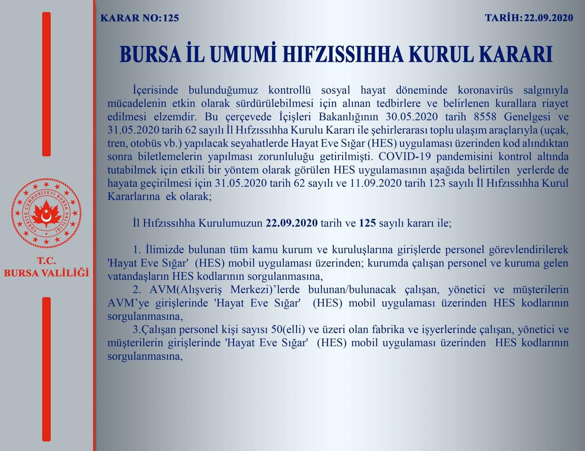 Bursa\'da HES kodu uygulaması ertelendi - #bursa #HESkodu #erteleme - https://t.co/8L2mC2JStN https://t.co/EN2w1h7S8E