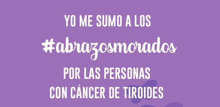 Hoy es el #DiaMundialCáncerdeTiroides  Casi 6000 personas son diagnosticadas de este tumor raro  Ninguno tiene que sentirse solo! Vamos a enviar #AbrazosMorados 💜🤗 para ellos  Gracias por RT y sumaros! https://t.co/nB1Bcnm9ic