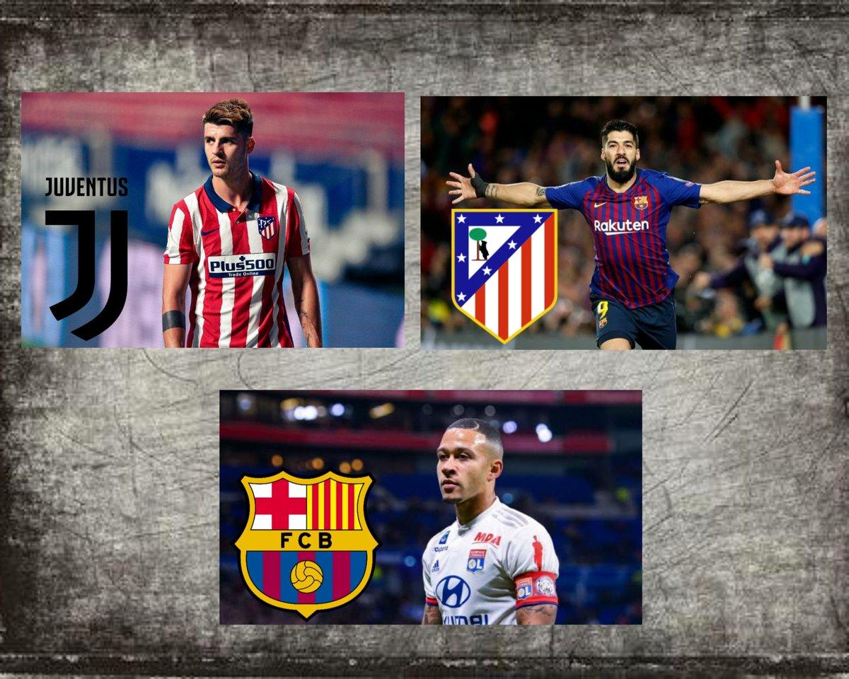 Morata to Juventus 🤝 Suarez to Atletico 🤝 Depay to Barcelona 🔜  Transfer cycle involving 3 clubs is almost done.  #Transfers #9raciasLuis #LuisSuarez #AlvaroMorata #Depay https://t.co/4C5mw21B9Y