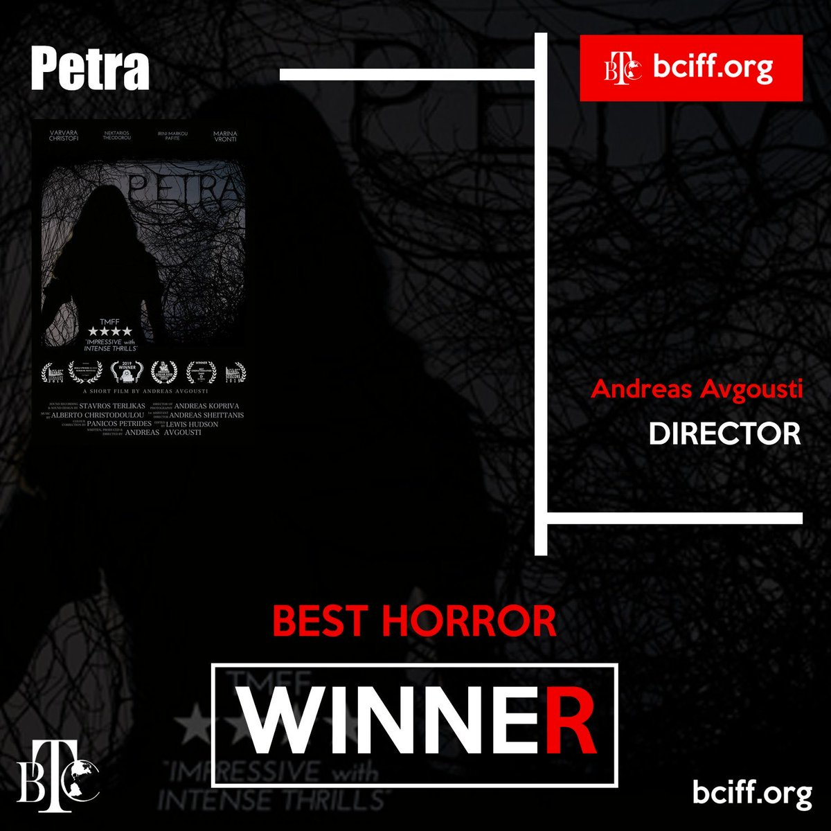 Thank you @BCIFF2020 for the Best Horror Award for @PetraMovie! #Horror #Petra #BCIFF #indie #promotehorror https://t.co/jSKbYHtW2l