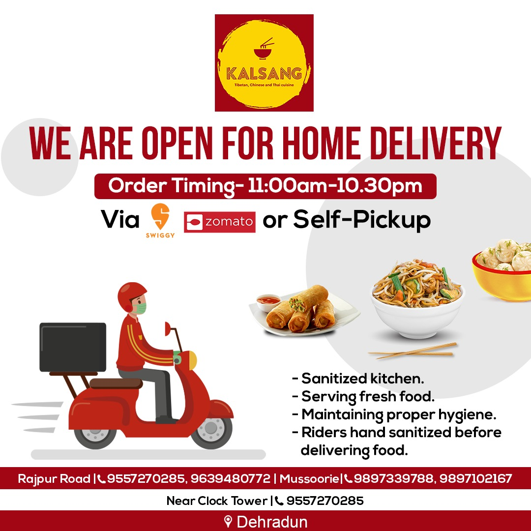 No more waiting in the long queues to get your favourite meals at @OfficialKalsang . We are open for home delivery.  #food  #foodie #foodstagram #foodblogger #foodpics #foodphotography #foodlover #foodpic #foodies #foods #foodblog #foodgram #KalsangRestaurant #Dehradun https://t.co/ATWH5qoVpG
