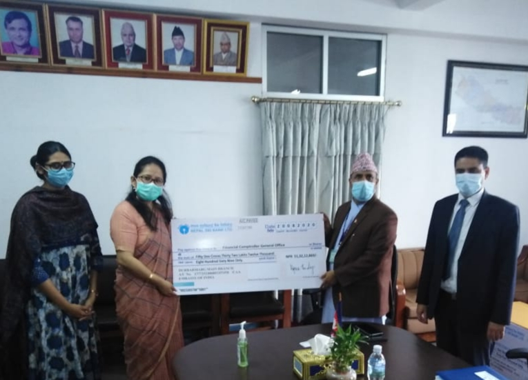 Ms. Namgya Khampa, Deputy Chief of Mission handed over cheques amounting to NPR 1.54 billion to Mr. Sishir Kumar Dhungana, Secretary, Ministry of Finance of Government of Nepal towards post-earthquake reconstruction assistance. Details at: https://t.co/URwgnuVEpF https://t.co/0PlM89e87H