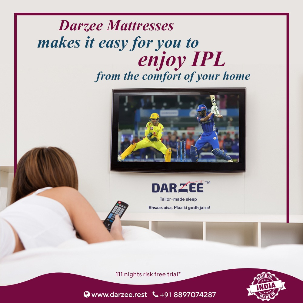 Get the comfort from Darzee Mattresses and enjoy cricket.  #Darzee #DarzeeMattresses #mattresses #mattressfactory #sleep #sleepmatters #kingmattress #queenmattress #pillows #MadeInIndia https://t.co/LuF4R5IVy7